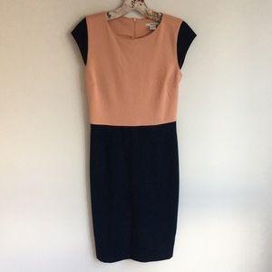 bar III orange and blue midi business dress